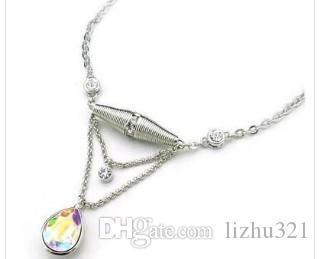 colorful crystal waterdrop pendant ((50mm*32mm) women's Necklacel ( ming )