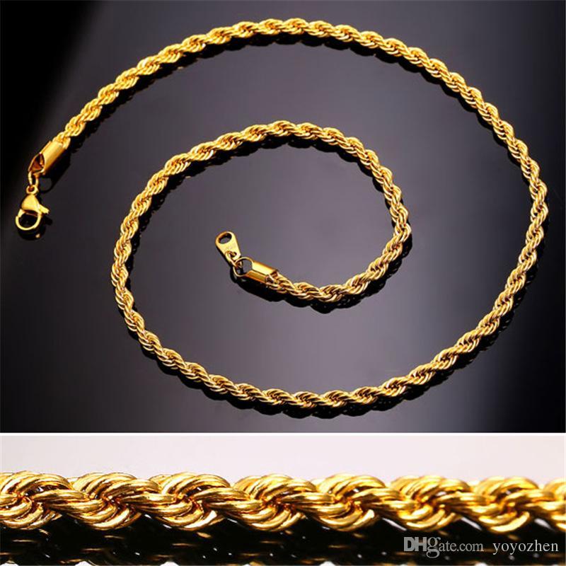 18K réel plaqué or en acier inoxydable corde chaîne collier pour les chaînes d'hommes d'or Bijoux Fashion cadeau