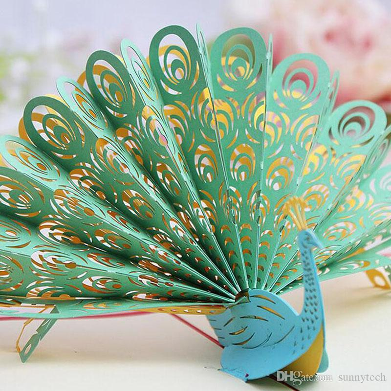 3D Pop Up Greeting Card Peacock Birthday Easter Anniversary Mothers Day Valentines Day Thanks invitation card gift customs logo ZA2260