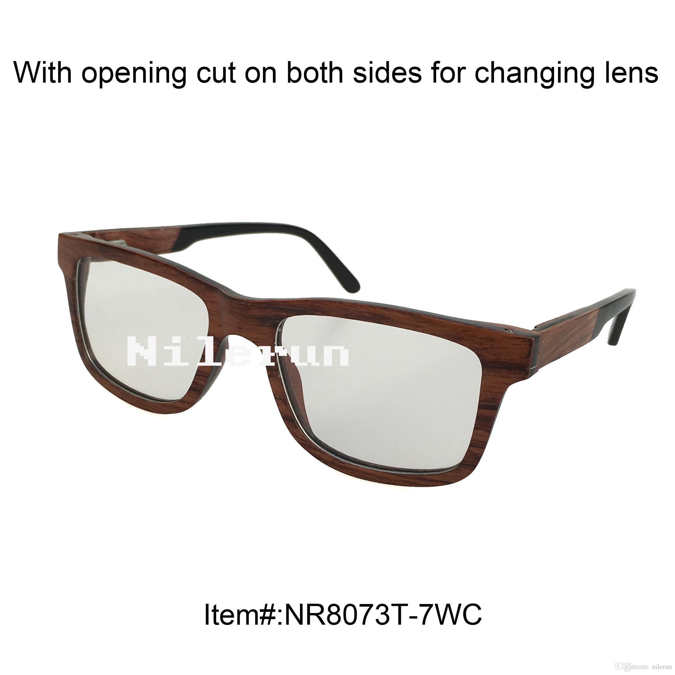 Yüksek kaliteli unisex erkekler kadın asetat tapınak ipuçları ve açılış kesim ile gül ahşap optik gözlük