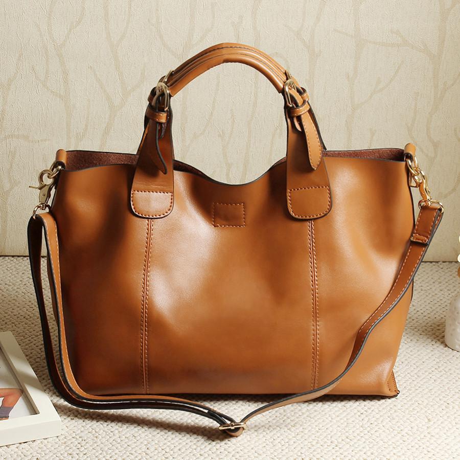 Wholesale- 100% cowhide genuine leather leather handbag large capacity women's messenger bags solid hasp top-handle tote bags bolsas AL01