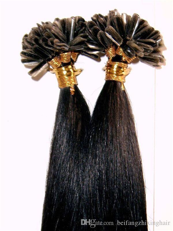 8А - U-образный наконечник для наращивания волос / 100% человеческие бразильские волосы / 1 г на прядь и 100 с / лот, прямая волна, 100 г, цвет T1B / серый