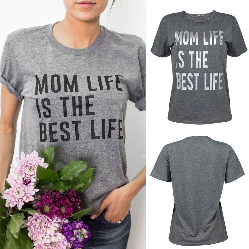 Vente en gros-Nouvelles femmes dames vêtements Tops T-Shirts maman vie est la meilleure vie mode manches courtes T-shirt cadeau pour maman Tops Awesome
