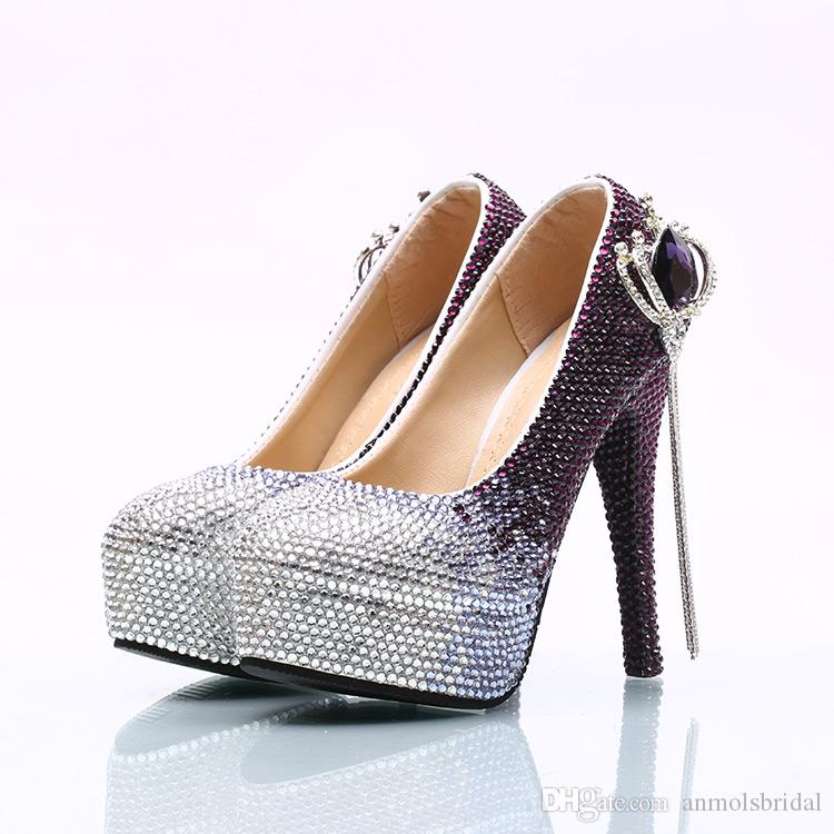 9c1c8e1ad4ae8 ... Wholesale Silver Plum Ombre Crown Tassel Cinderella Shoes Hand-made  Prom Evening High Heels Rhinestones ...