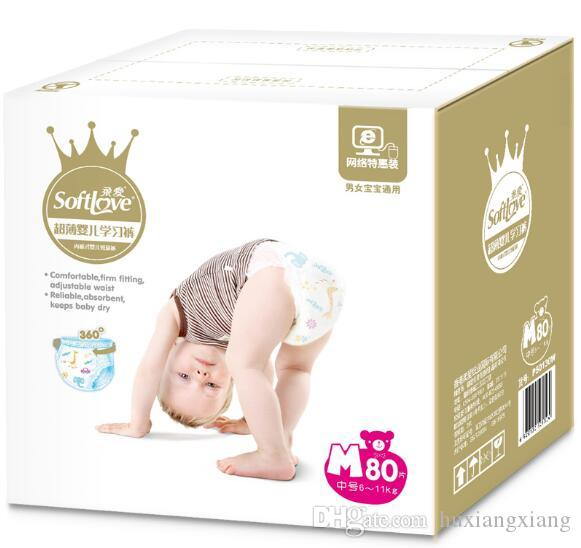 Lowest Price 2019 Factory sale Baby Diapers Economy Pack Three-demensional leakproof locks in urine Pull ups Pants Size M W17JS492