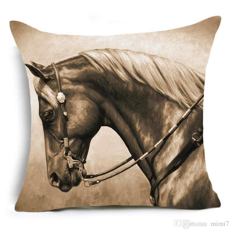 hyha horses polyester cushion cover steed animal war horses home decorative pillow cover for sofa car - Horses Head Pillow