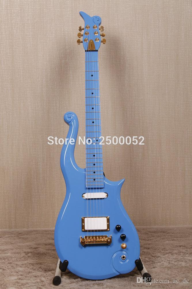 RARO Diamond Series Prince Cloud Angel Blue Guitarra eléctrica Pastillas individuales blancas Humbucker, Perillas de incrustación de punto negro, Afinadores Gold Grover
