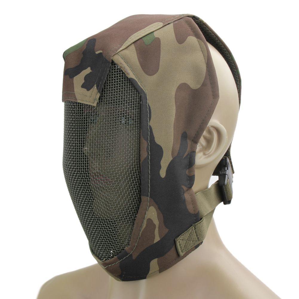 La mitad de la cara de malla metálica táctico máscara máscaras del casco del deporte al aire libre de protección Protección equipo de caza Paintball Airsoft Huelga de esgrima