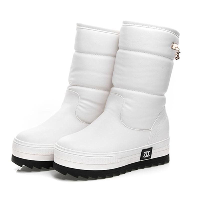 Gros-2017 nouvelles femmes bottes de neige imperméables flocon de neige chaussures super chaud coton plateforme d'hiver des femmes bottes mi-mollet # 0784