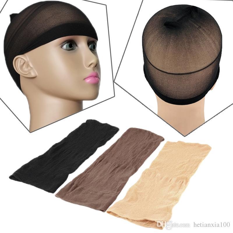 Calza parrucca 2PCS elastico unisex Liner Cap Snood nylon stretch Mesh Beige