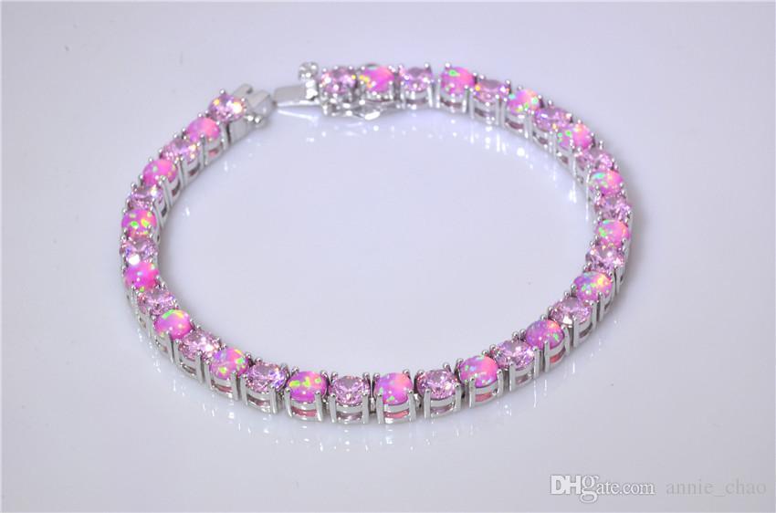 Vendita al dettaglio all'ingrosso Moda 7 pollici Fine rosa arcobaleno fuoco opale braccialetto 925 gioielli nastro per le donne BJF160320