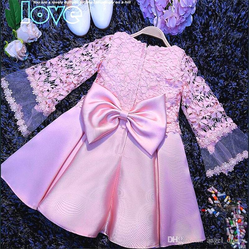 New Fashion Flower Girl Abiti con manica lunga per la cerimonia nuziale Little Girls Kids / Child Dress 2017 Princess Party Pageant prima comunione Dress
