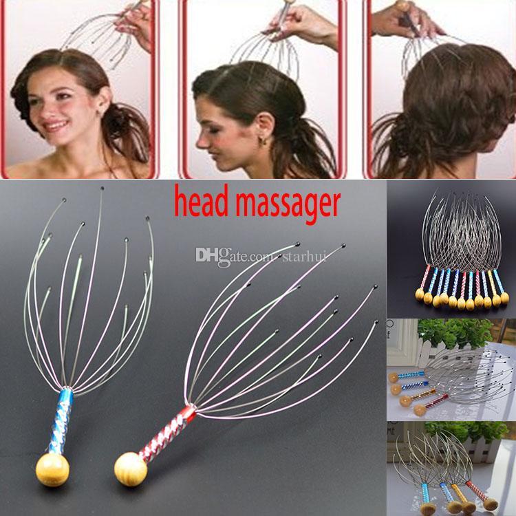جديد أسلوب رئيس مدلك مخلب الأخطبوط اليد تدليك الرأس الرقبة فروة الرأس مدلك المقاوم للصدأ فروة الرأس الشعر الرعاية تدليك WX-C47