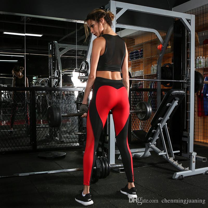 Yeni kadın spor spor eğitimi seksi aşk kırmızı ve siyah yapıştırma ve kiremitli yoga pantolon kadın
