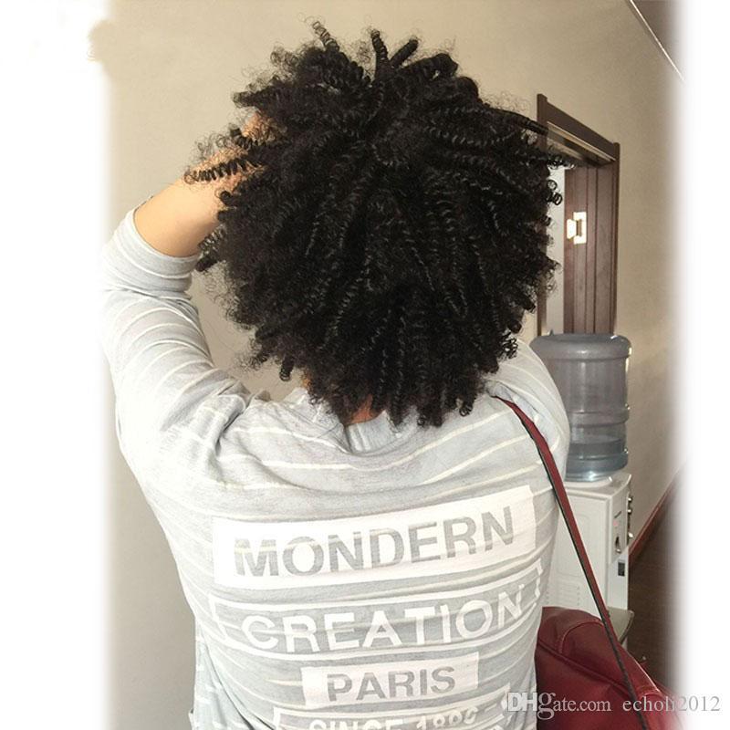 Dora Afro Verworrenes Lockiges Menschenhaar Pferdeschwanz Für Schwarze Frauen Brasilianisches Reines Haar Kordelzug Pferdeschwanz Haarverlängerungen 10-22 zoll