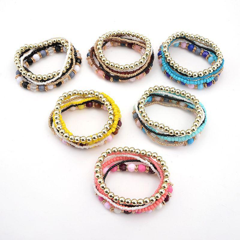 fea34b1fb94 Bohemia Style Beads Bracelets Multcolor Bracelet Six Color Ocean Style  Multi Layer Bracelet Beads Bangle Jewelry