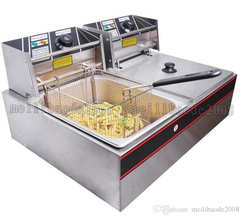 التجاري المزدوج خزان 12l الكهربائية المقلاة العميقة مطعم الوجبات السريعة 5000 واط القلي آلة شحن مجاني myy