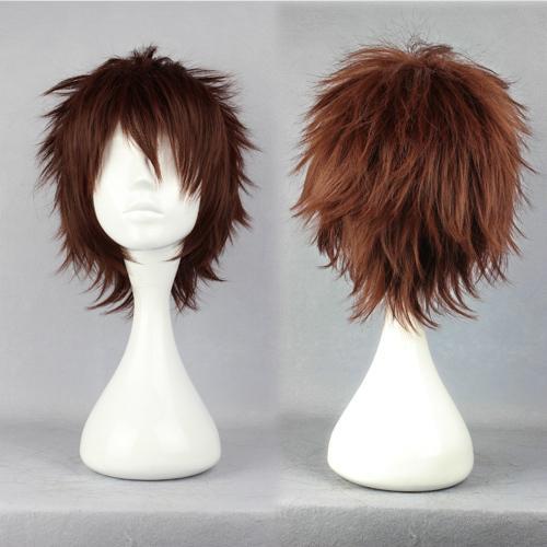 MCOSER Prezzo all'ingrosso Gin Tama Hasegawa Taizou classica parrucca sintetica uomo corto marrone da 32 cm