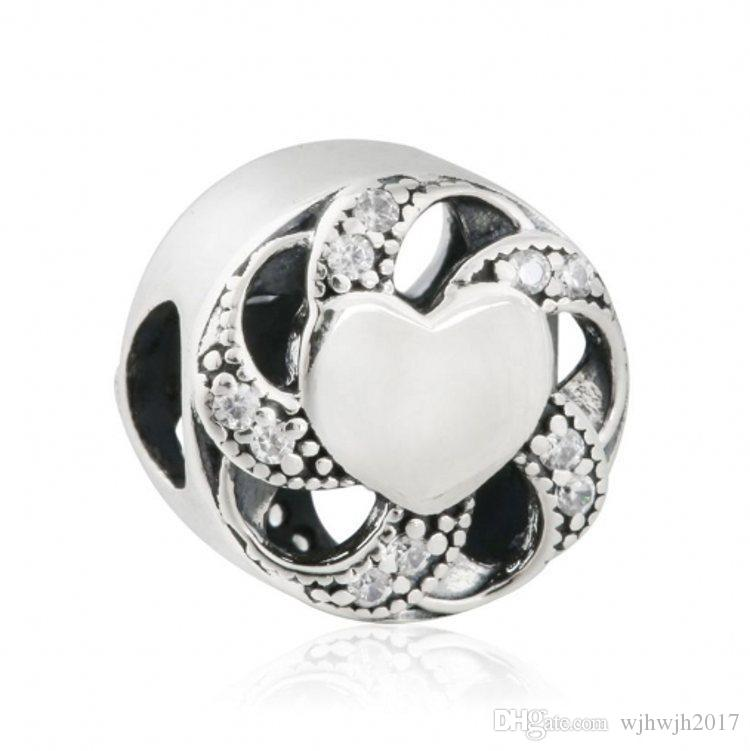 Celebration of Love Charms Beads Authentic 925 Sterling Silver Pave Crystal Ribbon Heart Beads For Charm Bracelets DIY Jewelry Making