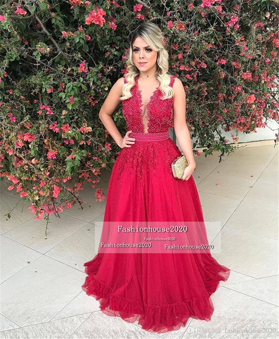 Großhandel Arabischen Stil Rote Spitze Abendkleider Lange V ...