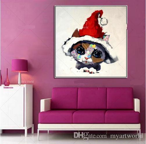 Lindo gato, pintura al óleo moderna pintada a mano de animales de dibujos animados, decoración de la pared del hogar en lienzo de alta calidad en varios tamaños C037