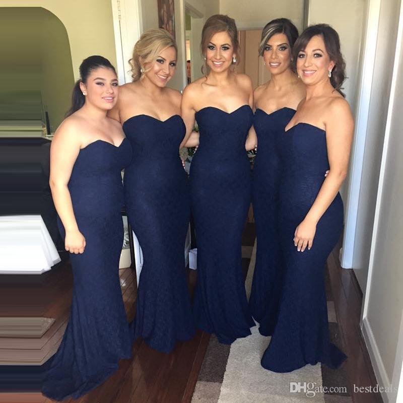 Cheap elegante abito da damigella d'onore 2017 sexy sirena pizzo blu navy abito formale per le damigelle d'onore e per adulti damigelle abiti da festa