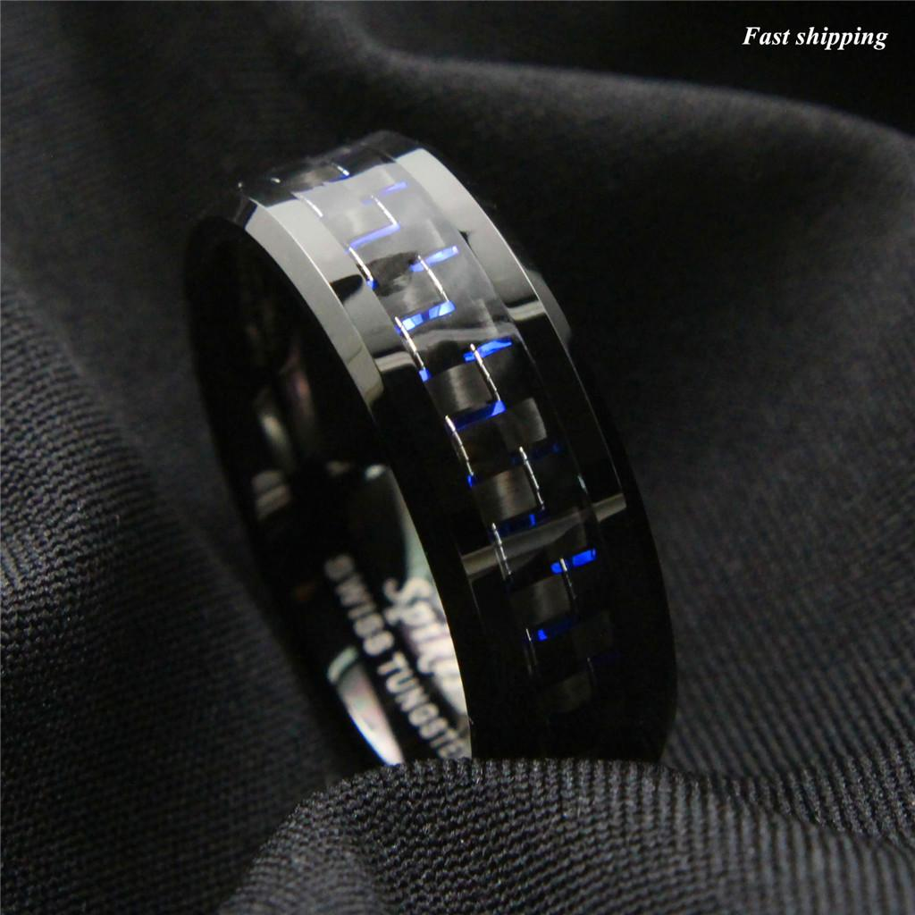 Ring Size 9 Security Jewelers White Tungsten 8mm Beveled Band with Black Carbon Fiber Center Size 9