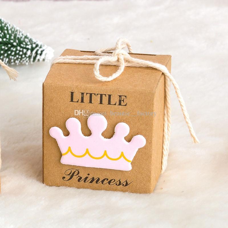 100pcs Kraft Paper Candy Box Boy / Girl Anniversaire Douche Boîte de Chocolate Chocolate Coffret unique et beau