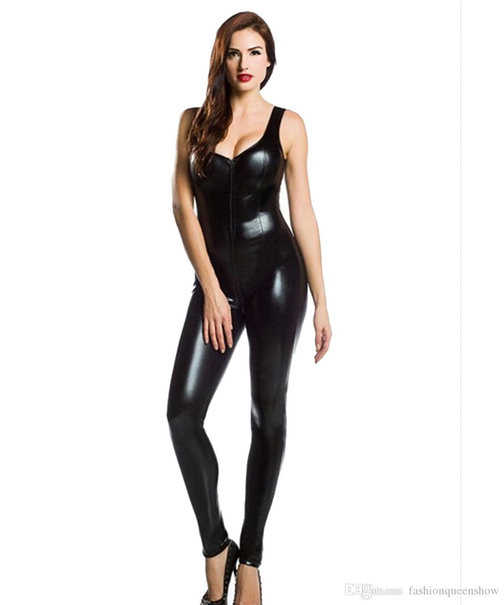 Top Quality Women's Black Faux Leather Catsuit With Front Zipper To Crotch Sleeveless Jumpsuit Costume Sexy Cosplay Bodysuit