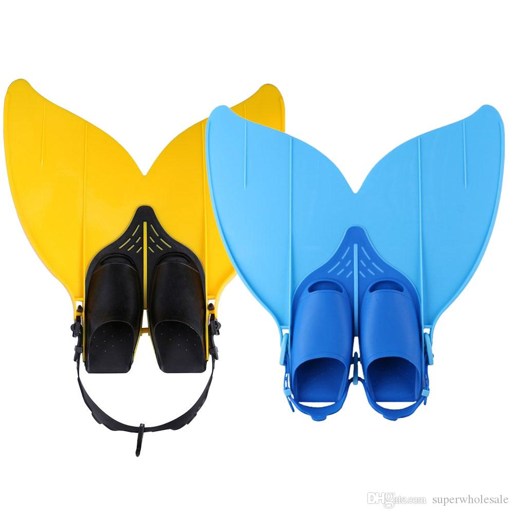 Adjustable Mermaid Swim Fin Diving Monofin Separated Foot Swimming Foot Flipper Mono Fin Swim Training Fins For Kids Girls Boys F-108