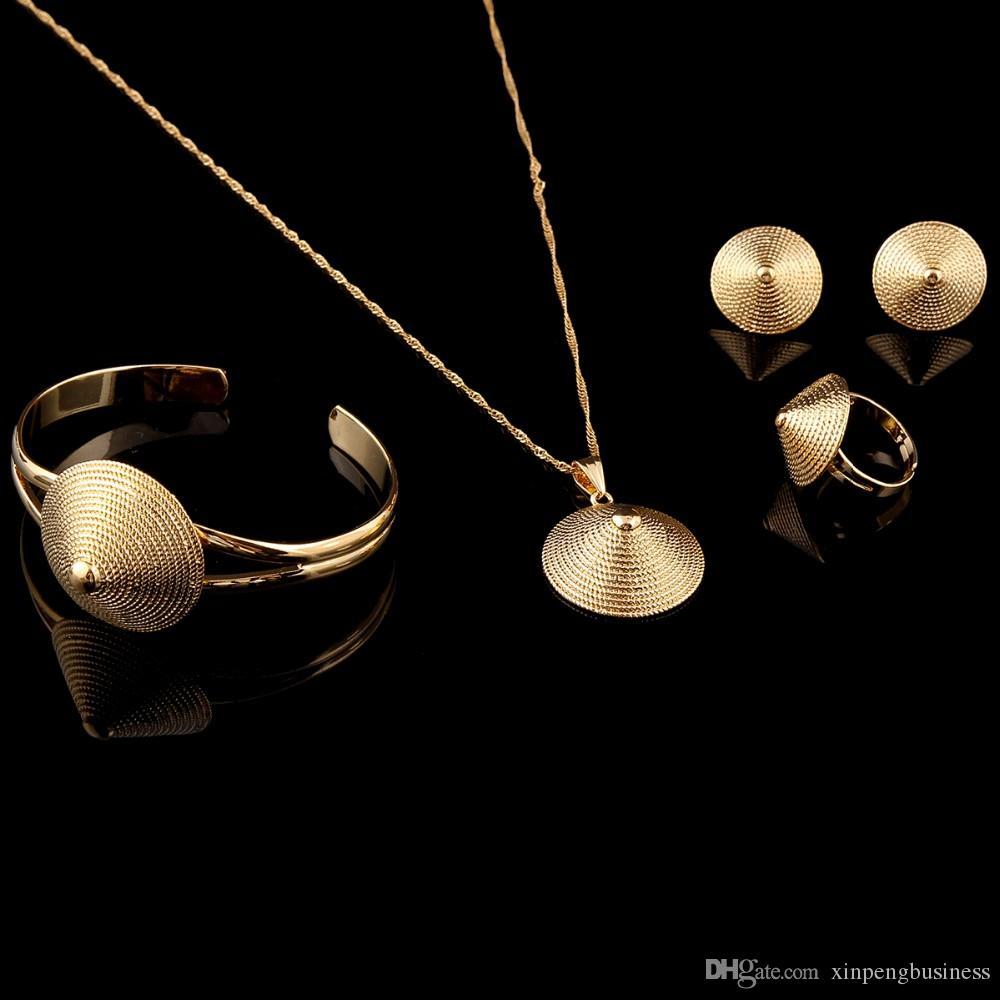 Латунь эфиопский бамбук шляпа cap ювелирные изделия ожерелье кулон браслет кольцо серьги 14 к реальный желтый цельный золото GF африканские свадебные наборы женщины Ethiop