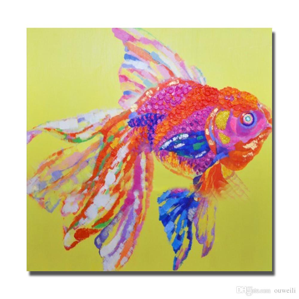 Free shipping cartoon design fish pictures hand painted animal goldfish oil painting for living room decoration