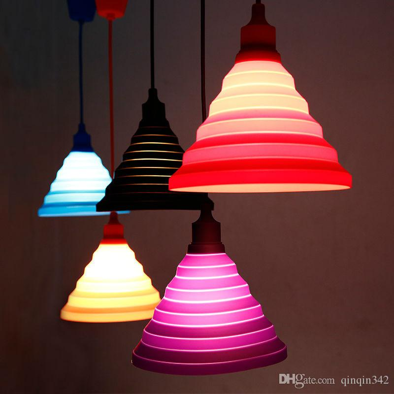 Modern Pendant Lights Fashion Simple Colorful Silicone Lamps DIY Design Changeable lampshade Twelve colors E27 Holder