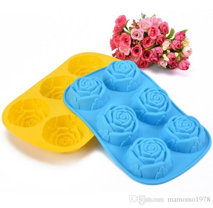 1PC 6 rose flower silicone cake mold Ice cream Chocolate molds soap silicone molds 3D cupcake bakeware baking cake pan LB 010