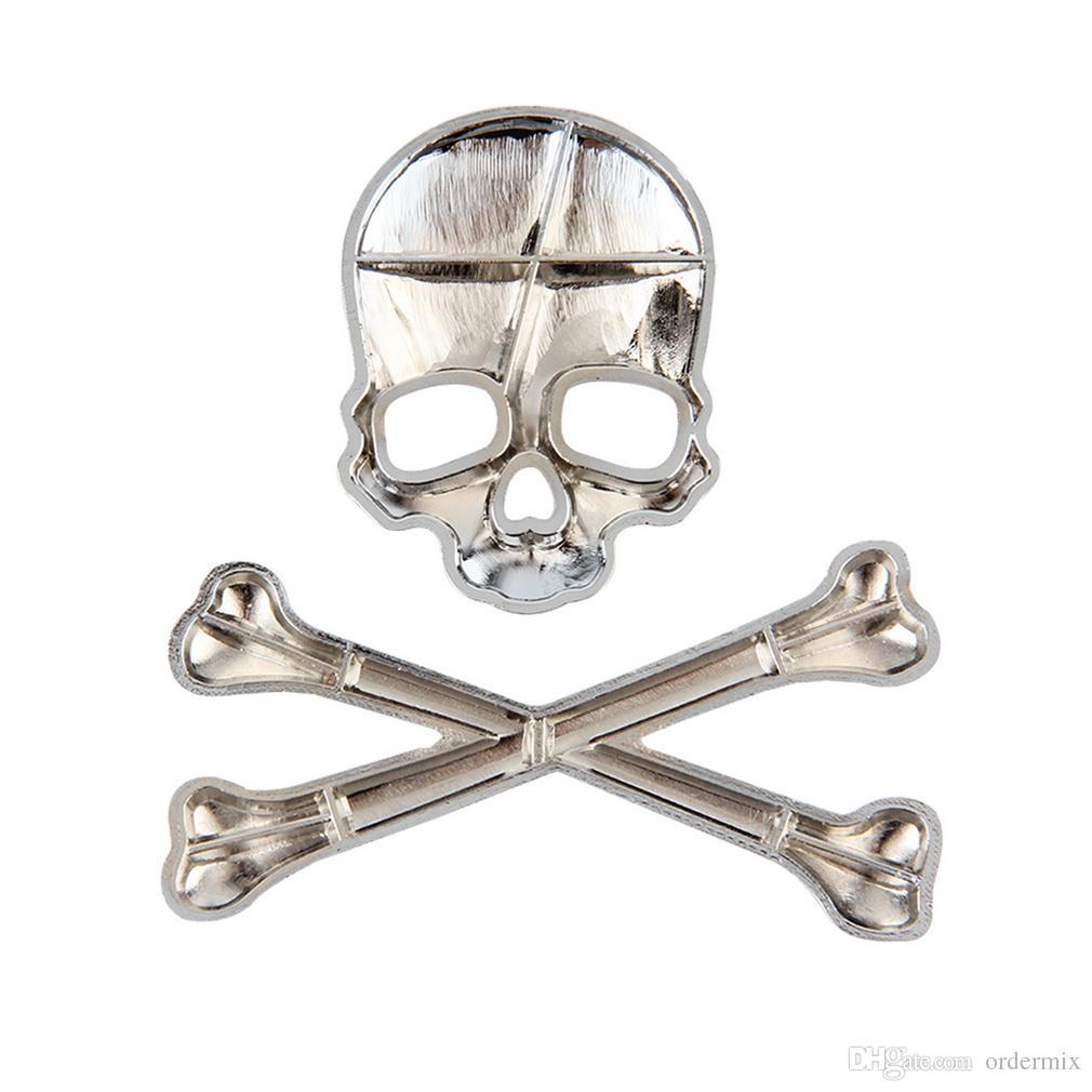 3D Personalized Car Sticker Skull Badge Auto Metal Skull Bone Logo parte decorativa