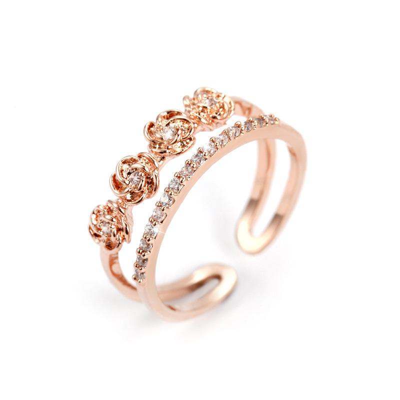 2pcs/lot elegant rose gold silver open rings for women femme wedding party jewelry accessories wide ring