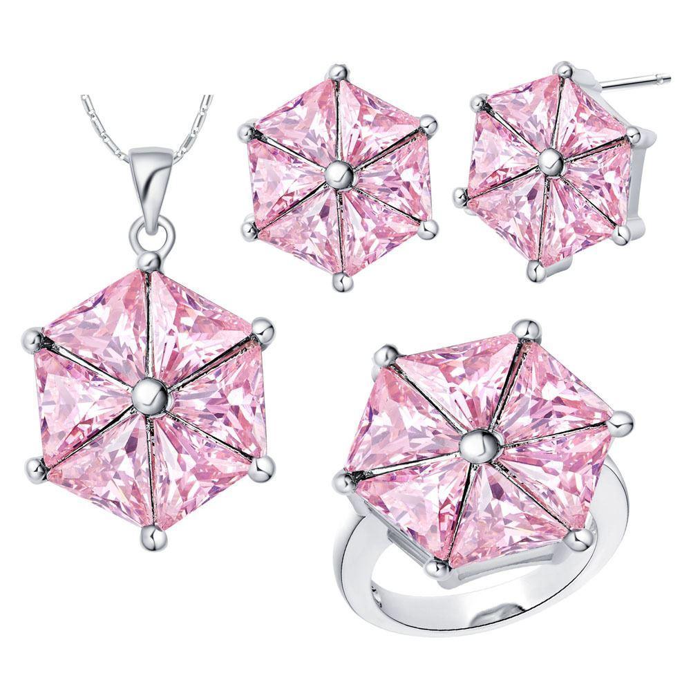 Set placcato in oro di argento sterling 925 set personalizzato di nuovo set di cristallo rosa