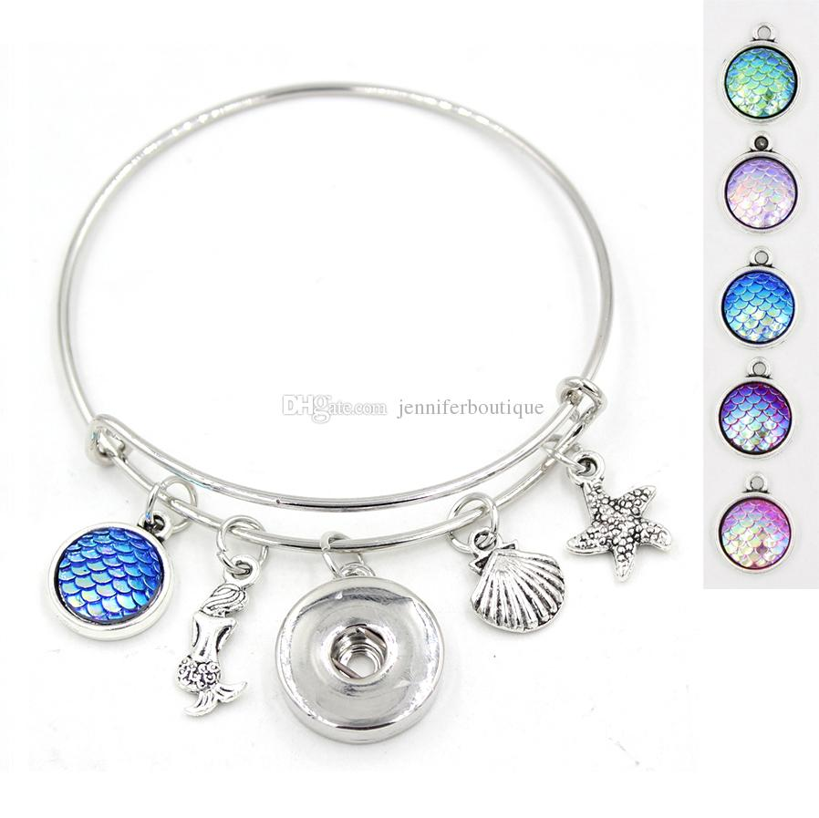 Envío gratis nueva llegada alambre brazalete bricolaje intercambiable braguita de la sirena del encanto de la sirena ampliable bracele 18 mm pulseras joyería al por mayor