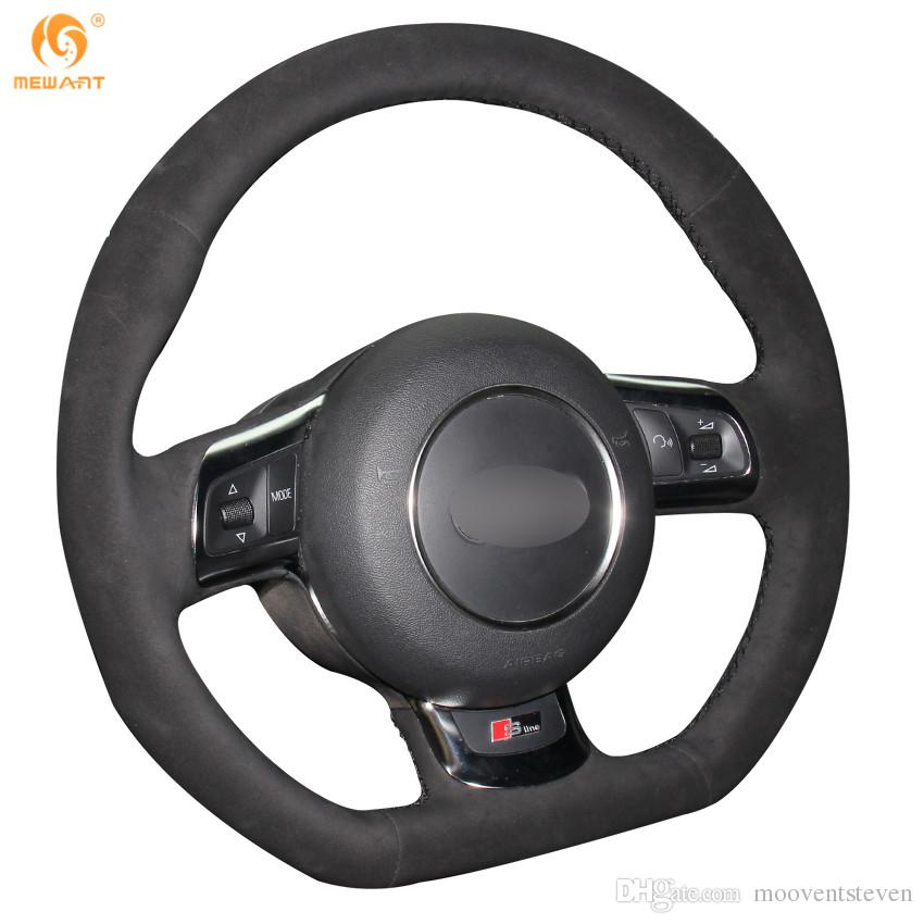 Black Suede Hand-stitched Car Steering Wheel Cover for Audi TT 2008-2013