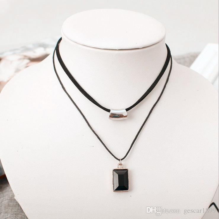 New Arrival !HOT Fashion Simple Style Double-deck Clavicle Chain Block Obsidian Pendant Necklace Jewelry As Gift