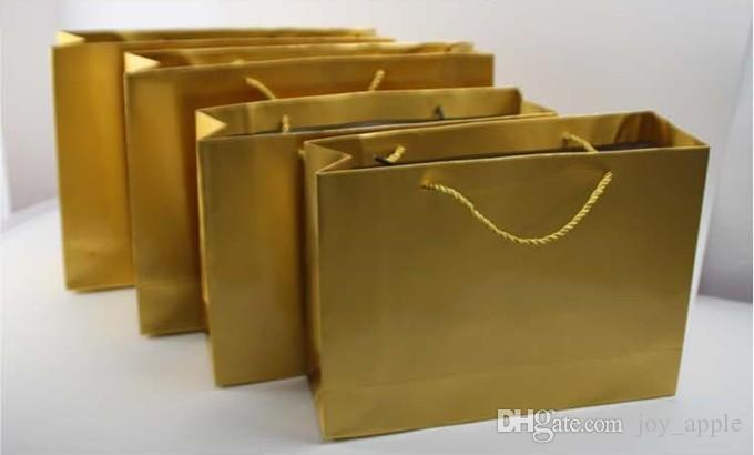 2017 Gold Color Paper Bag Shining Gift Bag Accept Print Logo ...