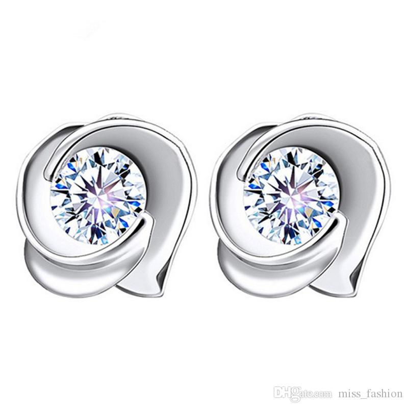 925 sterling zilveren sieraden gratis verzending kristal bloem bloesem oorbellen charme etnische vintage nobele vrouw oorbel