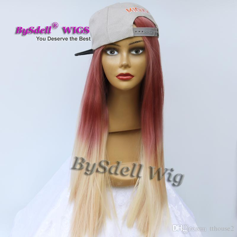 Long Silk Straight Mermaid Pastel color cosplay wig Synthetic Two tone Dark Red Purple ombre honey blonde color None lace/ Lace Front Wig