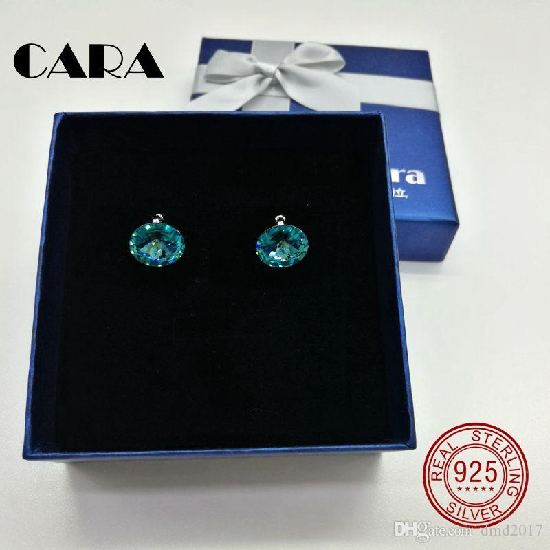 cara 2017 New 5 colors Ladies luxury for SWAROVSKI fashion earrings 925 sterling silver hoop earrings for women jewelry gift box CARA0105