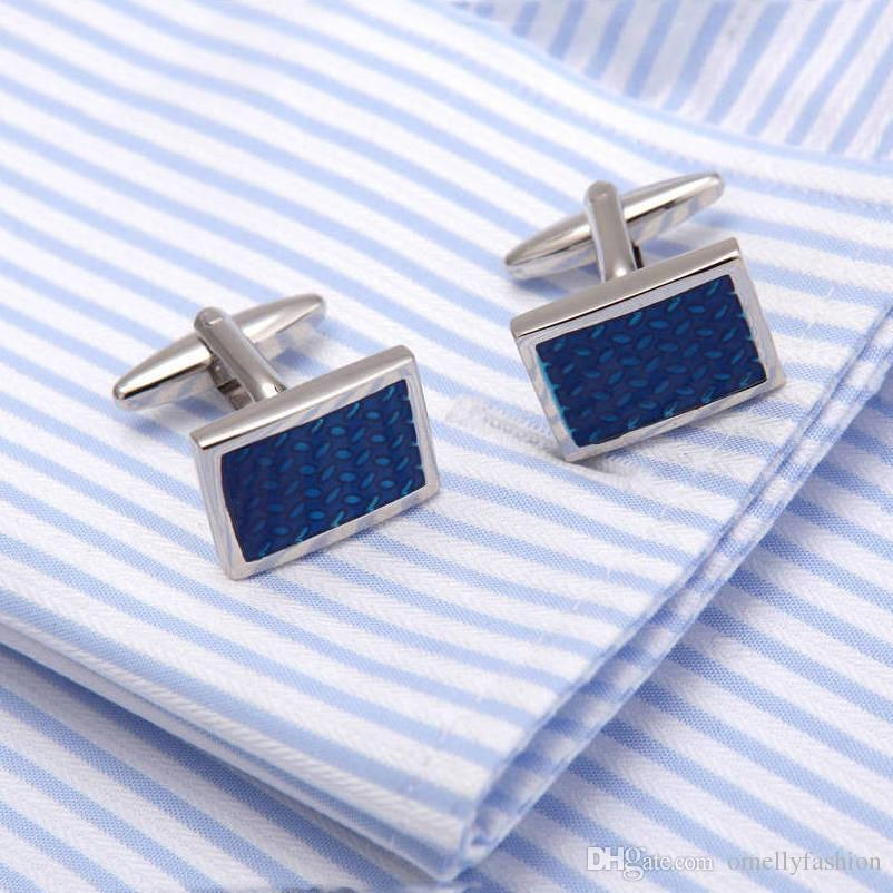 Luxury Men Paint Blue Crystal Cufflinks High Quality Lawyer Groom Father Wedding Shirt Cuff Links Buttons