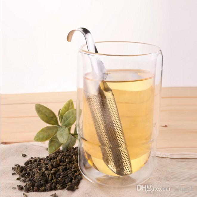 Neue Edelstahl Teekanne Infuser Griff Tee Blatt Sieb Gewürzfilter Filter Diffusor Rohr Loch 14,5 * 3 cm