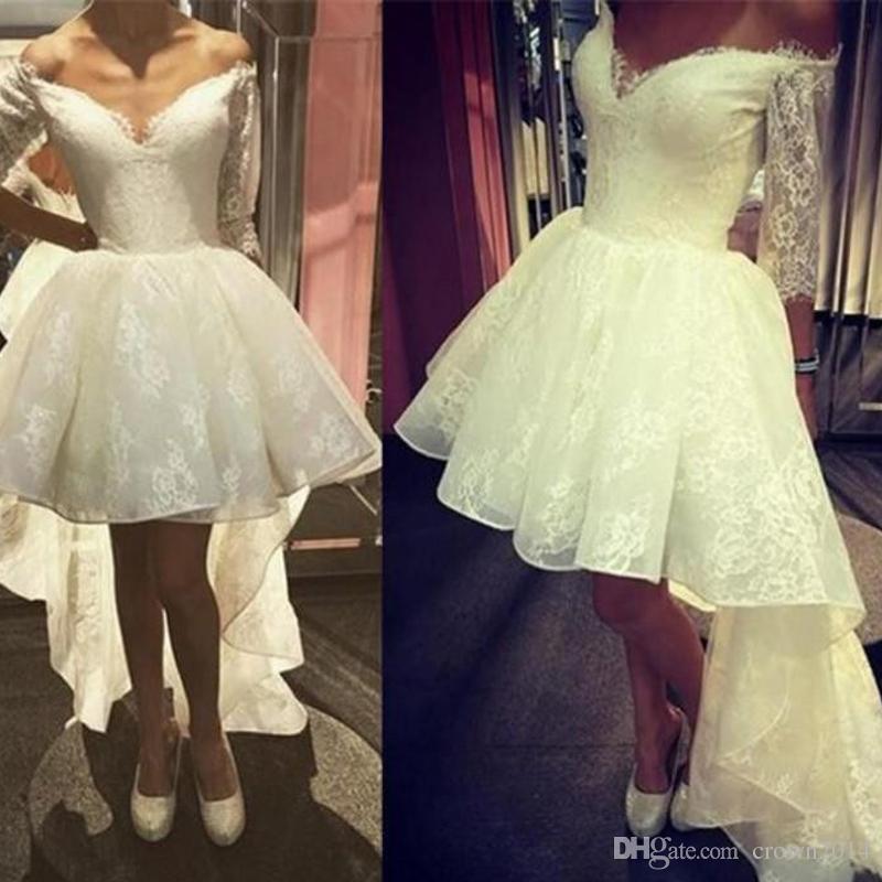 2019 Elegante Fora Do Ombro Do Laço Vestidos De Baile 3/4 Mangas Compridas A Linha Alta Baixa Inchado Formal Vestidos De Noite Branco / Marfim Vestido De Noiva