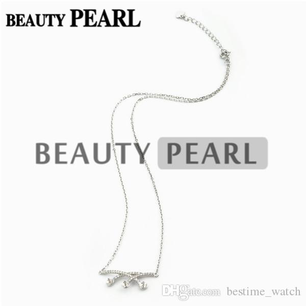 HOPEARL Jewelry 3 Pieces Necklace Blank for Pearls Zircon Mounting 925 Sterling Silver Chain Base with 3 Blanks