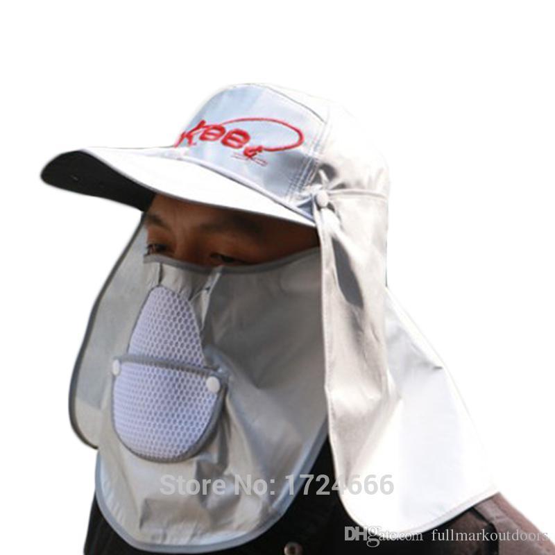 Unisex Sunscreen Pesca Hat 53-63 cm Ajustável Cabeça Circunferência Windproof Cap Pesca Equipamentos À Prova de Poeira Ao Ar Livre