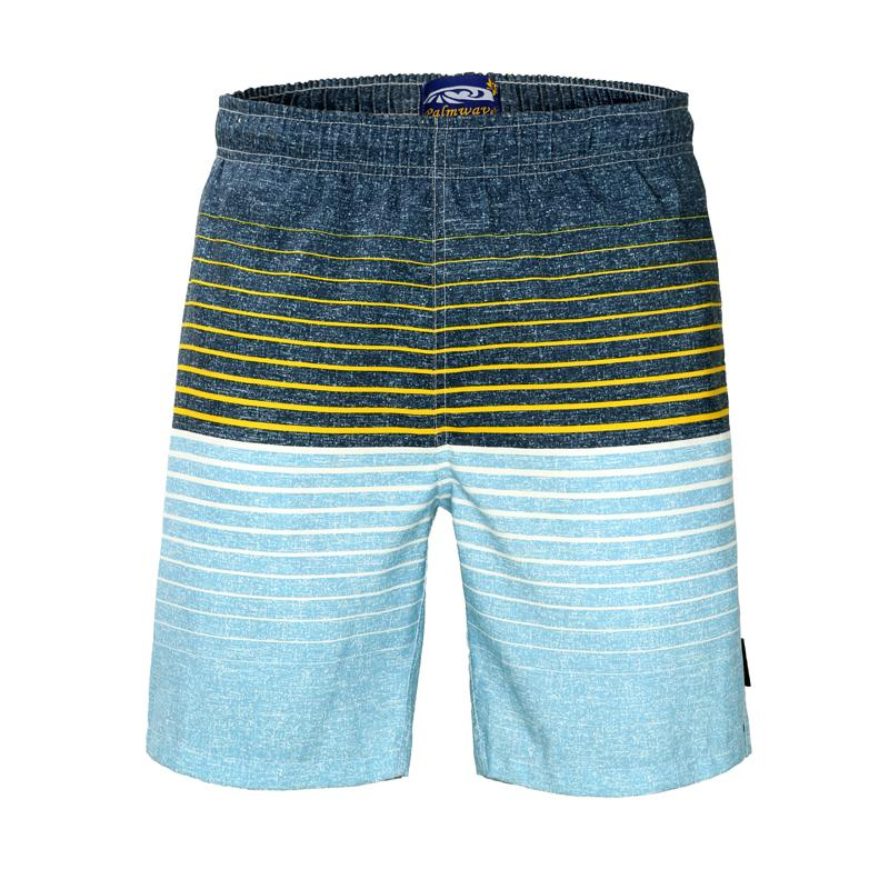 Hot Men's Summer Board Shorts Surf Swimwear Twin Micro Fiber Beachwear Striped Printed Loose Beach Trunks For Outdoor/Holiday